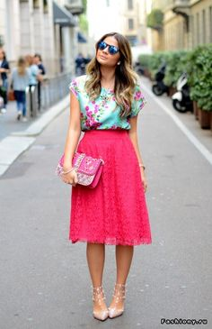 Long skirt, floral shirt.