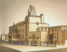Architectural rendering for the Palais Stoclet, a private house, Brussels, 1905, by Viennese architect Josef Hoffmann