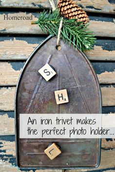 This unique vintage iron trivet is magnetic and makes the perfect photo holder. Included are 3 random Scrabble magnets. Photo and pinecone not included. The photo holder hangs from a jute cord and is the perfect place to display a vintage photo or two. Vintage Iron, Vintage Love, Antique Iron, Craft Projects, Projects To Try, Repurposed Items, Photo Holders, Funky Junk, Vintage Crafts