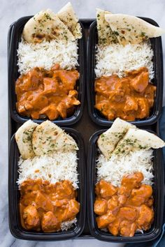 36 Delicious Dinners That Make It Easy to Meal Prep Ahead of Time: Indian Butter Chicken with Rice and Garlic Naan