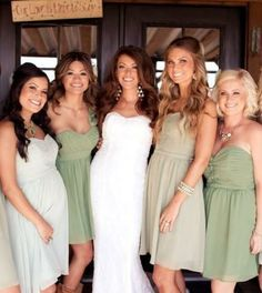 Different shades of green bridesmaid dresses bride bridal party must have photo idea ideas lace country barn temecula vintage old house farm cowboy boots bridesmaids flowy inspiration board picture loose curls long wavy hair flawless makeup pretty natural look glam beautiful prive beauty