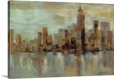 Silvia Vassileva Solid-Faced Canvas Print Wall Art Print entitled Misty Day in Manhattan Painting Prints, Wall Art Prints, Canvas Prints, Framed Prints, Paintings, Abstract Expressionism Art, Abstract Art, Misty Day, Architecture