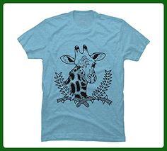 Giraffe Men's X-Large Sky Blue Heather Graphic T Shirt - Design By Humans - Animal shirts (*Amazon Partner-Link)