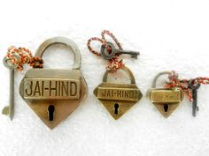 """Collective Decorative Handcrafted Heart Shape """"Jai Hind"""" Engraved Brand Padlocks  With Nice Patina. Set of 3 Pcs.  Get it from our online store:  www singhalexportsjodhpur com and search for """"26185"""" in the search box  Use code EARLYBRD5 to get amazing discounts.  LALJI HANDICRAFTS - WORLDWIDE SHIPPING - EXCLUSIVE HANDICRAFTS  INDIAN DECOR INDUSTRIAL DECOR VINTAGE DECOR POP ART MOVIE POSTERS VINTAGE MEMORABILIA FRENCH REPLICA    #padlock #padlocks #padlopadlock #lovepadlocks #vintagepadlock…"""