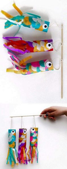DIY Wind Sock Carp Tutorial from Squirrelly Minds.This is a super easy kids craf… DIY Wind Sock Carp Tutorial from Squirrelly Minds.This is a super easy kids craft using toilet paper rolls and tissue paper to make DIY wind sock carps. Craft Activities, Preschool Crafts, Kids Crafts, Summer Activities, Sock Crafts, Preschool Christmas, Prim Christmas, Baby Crafts, Christmas Trees