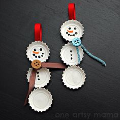 Snowman bottle caps craft