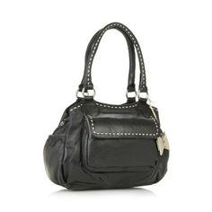 The Collection Black leather stab stitch grab bag- at Debenhams.com