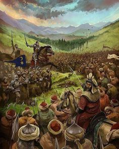 """Ottoman Army led by Sultan Mehmed II """"the Conqueror"""" vs. Wallachian (Romanian) troops led by the feared Voivod Vlad """"the Impaler"""", also known as Dracula (in fact, the Turkish called him """"Dracula Oglu"""" - """"Son of the Dragon/ Devil"""") Medieval Art, Medieval Fantasy, Military Art, Military History, Dracula, Vlad El Empalador, Vlad The Impaler, Ottoman Empire, Dark Ages"""