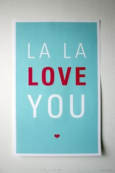 La La Love You Poster, Aqua & Red