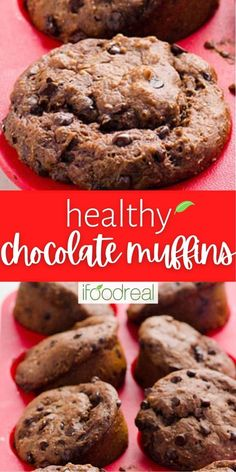 This easy Healthy Chocolate Muffin recipe is made with Greek yogurt, applesauce, whole wheat flour, cacao powder and honey. Kids absolutely love these fudgy and nutritious muffins. Healthy Dessert Recipes, Healthy Snacks, Snack Recipes, Healthy Chocolate Muffins, Cacao Powder, Muffin Recipes, Greek Yogurt, Honey, Baking