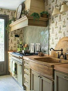 Love the wood tones with the sage green. Very warm & cozy. EVERYTHING about this house - I love it, I could so live in it!! YUM! 44 Reclaimed Wood Rustic Countertop Ideas 20 http://decoholic.org/2014/12/26/reclaimed-wood-rustic-countertop/ https://www.facebo