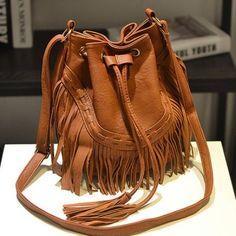 Women Tassel PU Leather Crossbody Bag As low as $76.00 Look Fashion, Street Fashion, Leather Crossbody Bag, Leather Bag, Crossbody Bags, Zalando Style, Fringe Bags, Lv Bags, Rosario
