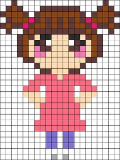Boo from Monsters Inc perler bead (or crosstitch) pattern