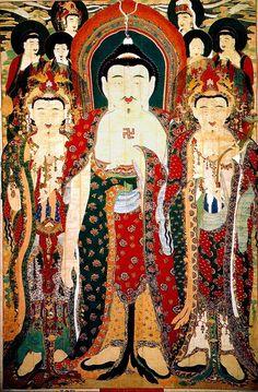 (Korea) National Treasures No.302. 靑谷寺 靈山會 掛佛幀. Joseon Kingdom. 진주시 금산면 갈전리 18 청곡사. 석가가 설법하는 영산회상도를 그린 괘불.