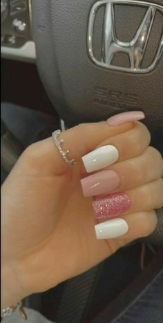 Simple Acrylic Nails, Square Acrylic Nails, Summer Acrylic Nails, Best Acrylic Nails, Square Nails, Simple Nails, Glittery Acrylic Nails, Acrylic Nail Designs For Summer, Clear Acrylic