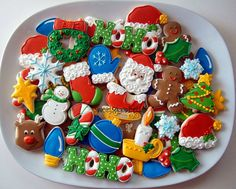 More Christmas Sugar Cookies decorated with royal icing.