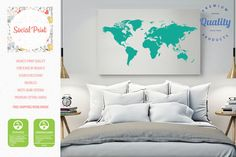 Red purple watercolor world map canvas print free shipping world map canvas print free shipping wall art home decor world map custom gumiabroncs Image collections