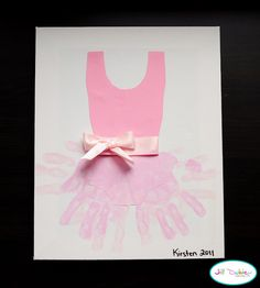 Handprint Ballerina Tutu – Canvas/2 shades of pink paint/paint brush/pink cardstock/scissors/glue/pink ribbon