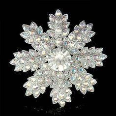 w Swarovski Crystal ~SNOWFLAKE~ starburst Holiday Xmas Wedding Bridal Pin Brooch