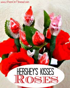 Hershey's Kisses Roses from MomOnTimeout.com | Perfect for weddings, Valentine's Day, anniversaries and more! #ValentinesDay #craft