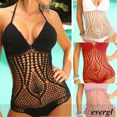 Sexy Handmade Women's Swimwear Beach Sets Bikini Crochet SWIMSUIT MONOKINI Black on Chiq http://www.chiq.com/sexy-handmade-womens-swimwear-beach-sets-bikini-crochet-swimsuit-monokini-black