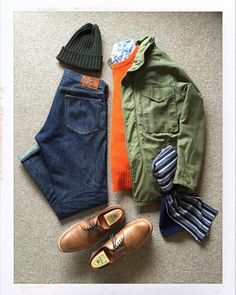Today's Outfit. Mature Mens Fashion, M65 Jacket, Outfit Grid, Today's Outfit, Cool Outfits, Casual Outfits, Ivy League Style, Army Shirts, Denim Jeans Men