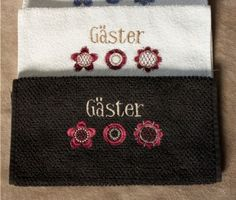 Guest towels in my own machine embroidery design.