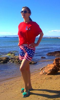 us flag print shorts and t- shirt with LA logo on it (made by me)