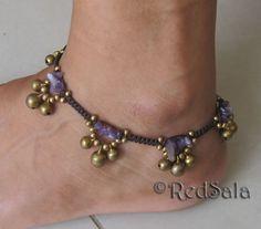 Handmade Thai ANKLET Ankle Bracelet Brass Bells Stones