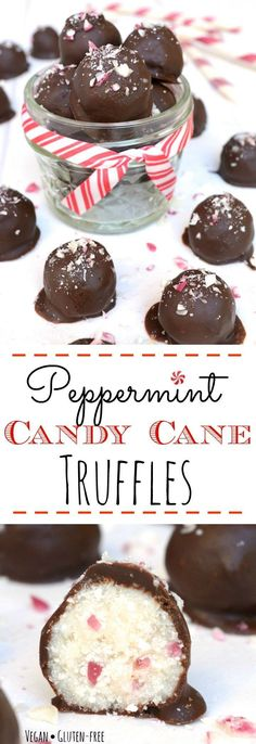 Peppermint Candy Cane Truffles are loaded with an irresistible candy cane crunch. They are a great allergy-friendly holiday treat or a perfect homemade gift. Vegan, gluten-free, nut-free and only 6 simple ingredients to make! You don't have to like the holidays to LOVE these truffles! #holidaytreat #vegan #vegantruffles #peppermint #chocolate @WYGYP