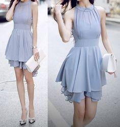 ドレス-ミニ・ミディアム ホルターネック調 シフォン レイヤードドレス 3色(14)
