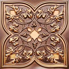 212 Faux Tin Ceiling Tile  Antique Copper Glue up 24x24 - Interior Design Idea in