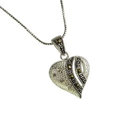 Sterling Marcasite Heart Pendant Necklace, CZ