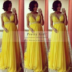 Elegant Sequined Applique Yellow Chiffon Long Evening Dresses 2015 Plus Size Pregnant Maternity Formal Prom Dress robe de soiree