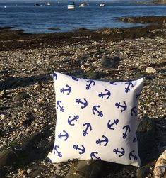 Seaside Cushion Anchor Seaside Nautical Decorative Cushion Seaside Decor Birthday Gift for Dad Free Shipping Two Ugly Sisters Printed Cushions, Decorative Cushions, Gifts For Sailors, Seaside Decor, Anchor Print, Looking Forward To Seeing You, Gifts For Father, Coastal Living, Being Ugly