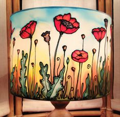 Poppy Field Sunset Hand Silk Painted Lamp by CarinaThumbelina