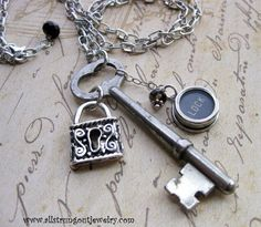 Under Lock and Key  Vintage Skeleton Key by Allstrungoutjewelry, $44.99