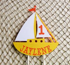 Personalized Sailboat Cake Topper, Nautical Theme Birthday by MyMixedMediaCrafts on Etsy