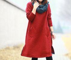 women plus size clothing Cotton dress  large size by cottondress23