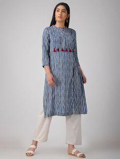Indigo Block-printed Cotton Dress with Tassels and Kantha Work Printed Kurti Designs, Silk Kurti Designs, Kurta Designs Women, Kurti Designs Party Wear, Indian Designer Outfits, Indian Outfits, Designer Dresses, Long Jacket Dresses, Ethenic Wear