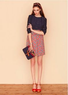 boater 3/4 + printed midi-skirt