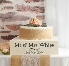 Ivory Wooden Wedding Cake Stand