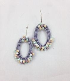 Diy Earrings Dangle, Denim Earrings, Tatting Earrings, Jade Earrings, Crochet Jewelry Patterns, Crochet Accessories, Crochet Designs, Jewelry Accessories, Diy Jewelry