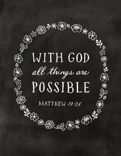 Matthew 19:26 With God all things are possible By Little Seed Blog