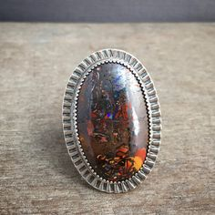 Koroit opal statement ring - opal jewelry - large stone ring - unique ring…