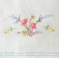 Vintage pillowcase embroidery