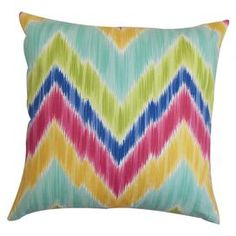 Cotton pillow with a vibrant zigzag motif and down fill.   Product: PillowConstruction Material: Cotton cover and 95/5 down fillColor: MultiFeatures:  Insert includedHidden zipper closureMade in the USA Dimensions: 18 x 18Cleaning and Care: Spot clean
