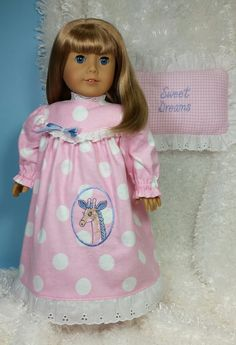 American Girl Doll Clothes, Embroidered Flannel Nightgown with Eyelet Ruffled Pillow for 18 inch Dolls  Your doll will have sweet dreams