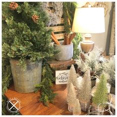 Blingy Bottlebrush trees add a little glitz to the natural looking faux greenery (tree in vintage sap bucket). Vintage spools to add wood textures and tones along with a chippy vintage stool, wood urn lamp, white doughbowl filled with snowy white faux trees and velvety pinecones. Anchored by vintage European green shutters and layered with new architectural white wood wall decor. Whites, greens and galvanized keep this Christmas vignette almost monochromatic. Christmas Vignette, Green Shutters, Bottlebrush, Vintage Stool, Textures And Tones, American Decor, Wood Wall Decor, Wood Texture, White Wood