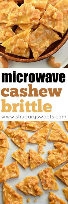 Cashew Brittle is an tasty treat made in the microwave! It couldn't be easier, and it's a fun twist on the classic peanut brittle. Candy Recipes, Sweet Recipes, Snack Recipes, Dessert Recipes, Easter Recipes, Keto Snacks, Vegan Recipes, Chocolates, Easy Desserts